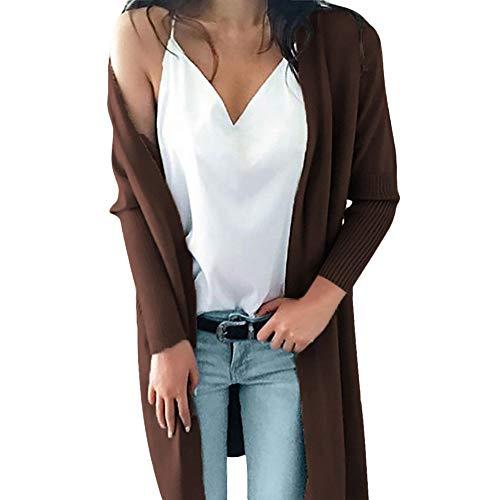 iHENGH Damen Cardigan Top,Women Winter Mantel Lange ÄRmel Feste Taschen Gestrickt Langen Pullover Ober Bluse Coat Strickjacke Tops