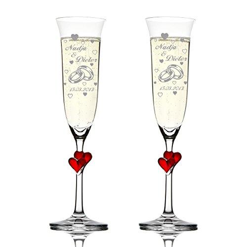 polar-effekt 2er Set Hochzeitsgeschenke Personalisiert - Sektgläser graviert mit Namen und Datum - Sektkelche mit roten Herzen 175 ml - Geschenk zur Hochzeit - Motiv zwei Ringe mit vielen Herzen (Anzahl Bauch-ringe)