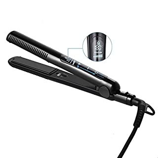 Guisee HS74 Hair Straightener Ionic Flat Iron with 2 in 1 Infrared Straightening and Curling Styler 15 Second Heat-Up LCD Touch Screen Auto Shut Off