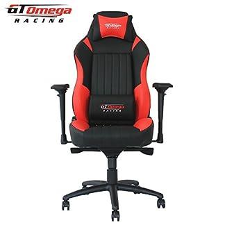 GT Omega Racing Evo XL – Silla de oficina, deportiva, cuero negro y rojo