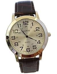 Hombres alpino '' s plateado marrón PU cuero correa blanco reloj reloj de pulsera con una batería Extra