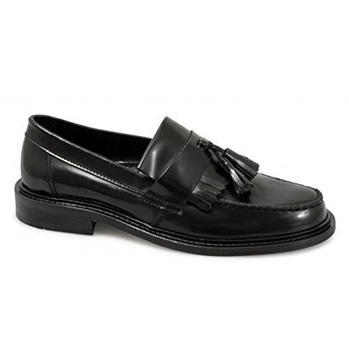 Ikon selecta mocassini da uomo lucidi, in nappa, colore nero, nero (black), 40
