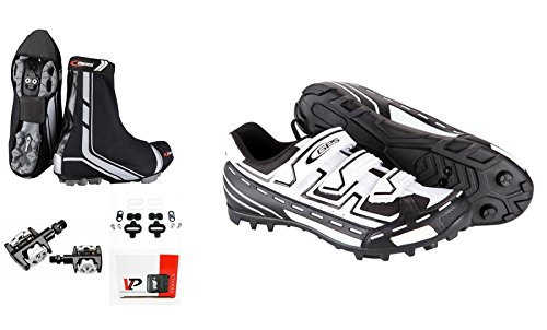 Zapatillas de ciclismo + Pedales SPD automaticos + Cubrezapatillas Impermeable de Bicicleta MTB T42 3515b 3062b