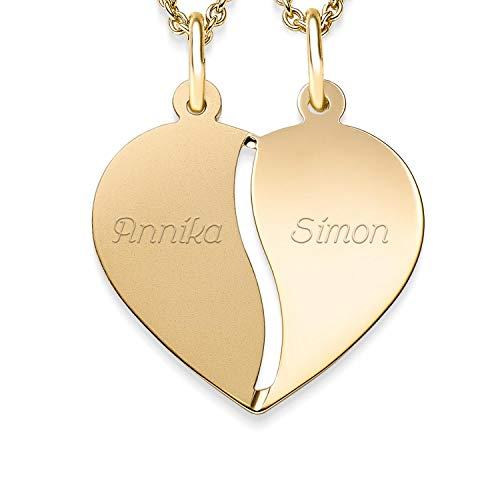 Herzkette Gravur für Paare Gold + inkl. GRATIS Luxusetui + geteilt 2 Hälften für Pärchen persönlich gravierbar Kette Paarkette Herzanhänger gebrochen Gelbgold 333er Goldkette FF411-2 GG33345