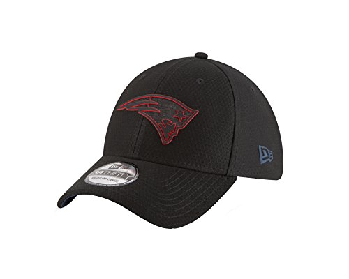 New Era NFL New England Patriots Official 2018 Training 39Thirty Black Stretch Cap - Schwarz Größe S-M, Farbe Rot