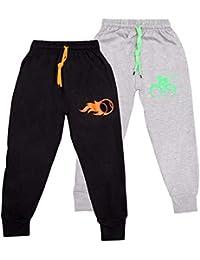 Kuchipoo Kids Unisex Cotton Track Pants (Grey & Black) - Pack of 2