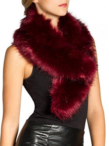 Caspar sto001 donna collo di pelliccia sintetica, colore:rosso, dimensioni:taglia unica