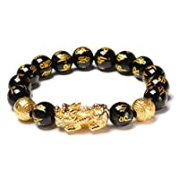Black Obsidian Wealth Bracelet with Golden Pi Xiu Included a Peace Sign Pendant Lucky Wealthy Amulet Bracelet and Attract Wealth and Good Luck