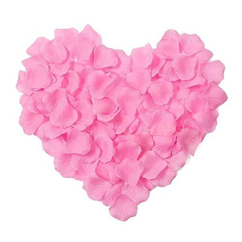 Hochzeits-Rosenblütenblätter, 1000 Stück, Dekorationen aus Polyester 1000 Pcs Deep Pink -