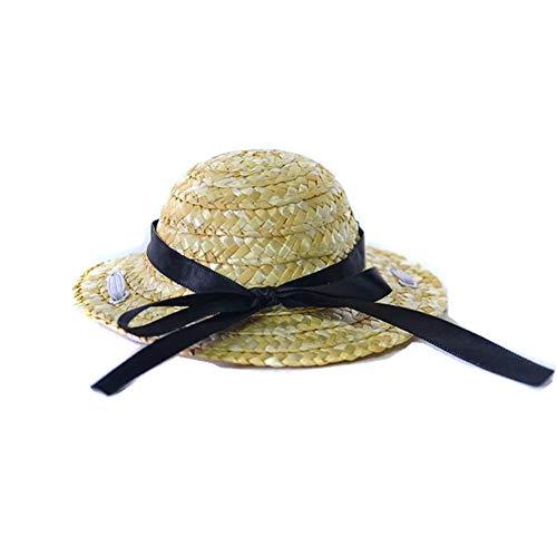 ChicPet Haustierhut aus Stroh, klein, handgefertigt, mit schwarzer Schleife, für Katzen, Hunde, Welpen, verstellbar, elastisches Band (Halloween Band Husky)
