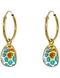 Córdoba Jewels | Pendientes en plata de Ley 925 bañado en oro y piedra semipreciosa. Diseño Aro Murano