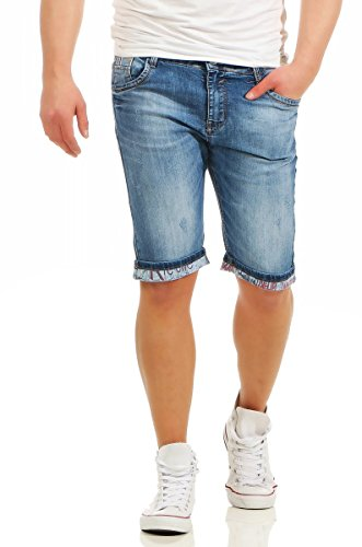 Fashion4Young Herren Bermuda Jeans Hose Denim Shorts Usedlook Freizeithose  Herrenbermudas Destroyed (11080-blau, 68f34de943