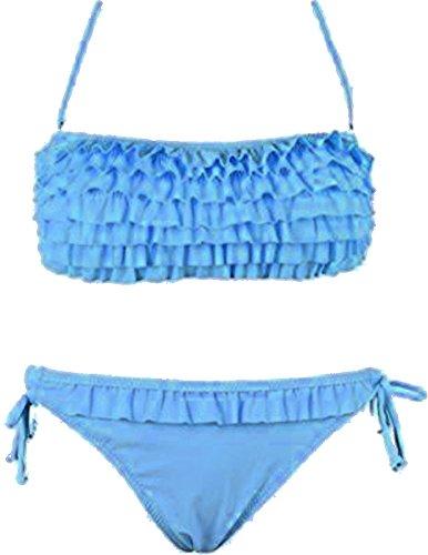 Damen Bikini Set Push up Neckholder Bandeau Rüschen-Monokini mit Fransen V1 Blau Rüschen