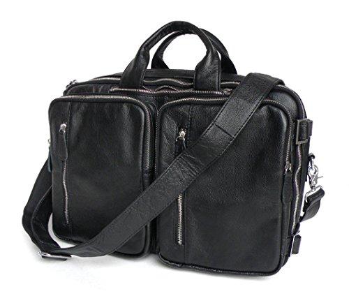 Everdoss Herren echt Leder Umhängetasche Handtasche Rucksack Schultertasche Businesstasche schwarz