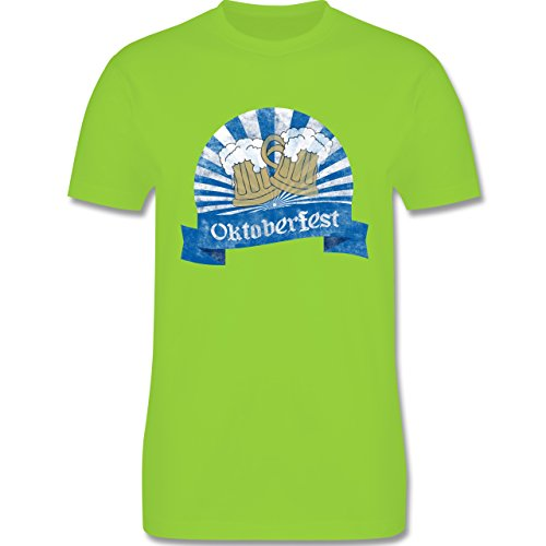 Oktoberfest Herren - Bierkrüge Vintage - Herren Premium T-Shirt Hellgrün