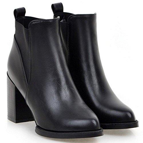 TAOFFEN Damen Sweet Pointed Toe Blockabsatz Knöchelriemchen Gemütlich Chelsea Stiefel Schwarz