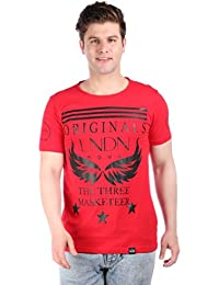 LNDN HOUR Branded New Stylish Front Print Round Neck Cotton Tshirt . Half Sleeves, Latest High Quality Fashion Garments For Men/Boys. Red colour