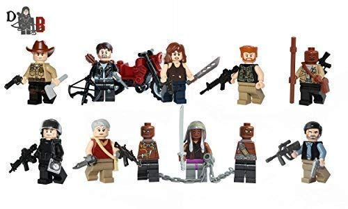 Demonhunter Bricks The Walking Dead Minifiguren 9 Pack - Rick , Daryl , Glenn, Michonne, Gouverneur, Abraham, Maggie, Carol, Morgan mit Lego & Selbst Erstellte Teile