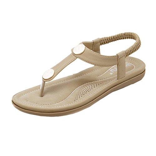 OverDose Sandales Plates en Cuir, Femme Chaussures D'été Plage Spartiates Métal Casual Peep-Toe Tongs Flat (41, Kaki)