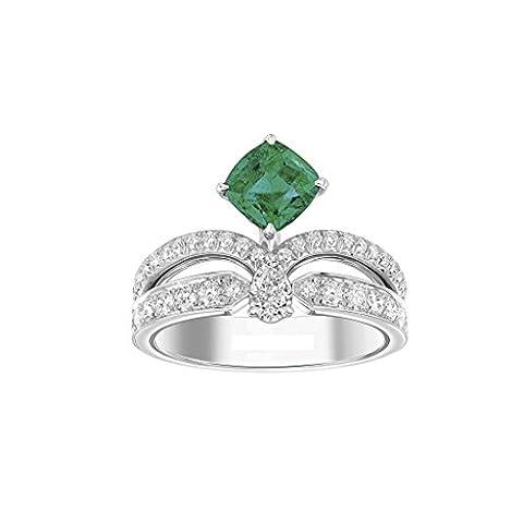 Moderne, CT Coussin Émeraude en forme de poire et coupe ronde Diamant Or Blanc 14K Bague anniversaire de mariage, tous les Taille J à Z disponibles