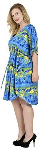 La Leela dames 5 en 1 likre aloha caribbean tunique palm top robe de soirée détendu bain ajustement costume maillots de bain couvrent loungewear court occasionnel de nuit bain caftan Bleu Royal