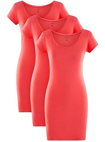 oodji Ultra Damen Jersey-Kleid (3er-Pack) Rosa (4D00N)