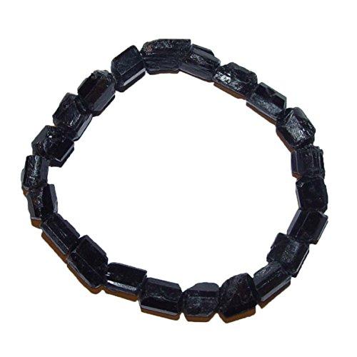 Janni-Shop®-Armbänder Turmalin Schwarz Schörl Armband unbehandelte Rohsteine ca. 10-12 mm Edelstein Elastisch