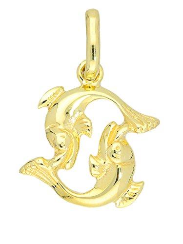 MyGold Fische Anhänger (Ohne Kette) Gelbgold 585 Gold (14 Karat) Massiv Glanz 18mm x 11mm Klein Sternzeichen Goldanhänger Geschenke Weihnachtsgeschenke Majestico A-06006-G401-Fis