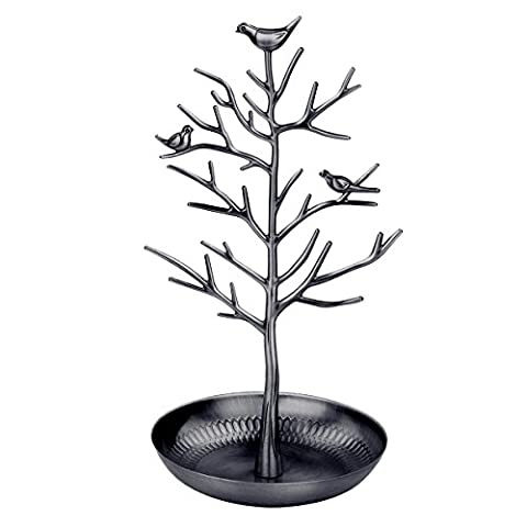 OULII Jewelry Tree Display Organizer Stand Holder pour pendentif Collier Ring (Black)