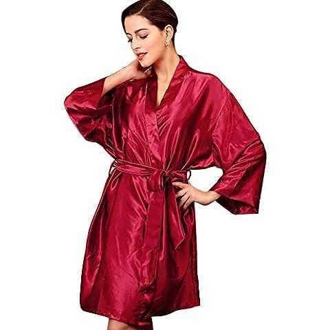 SaiDeng Mujeres Kimono Satén Seda Elegantes Suaves Batas De Baño Ropa De Dormir Albornoces Camisón