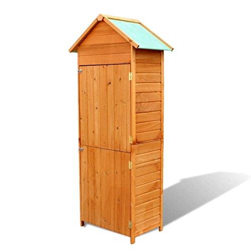 Tidyard armadietto da giardino in legno con tetto impermeabile 79 x 49 x 190 cm | marrone