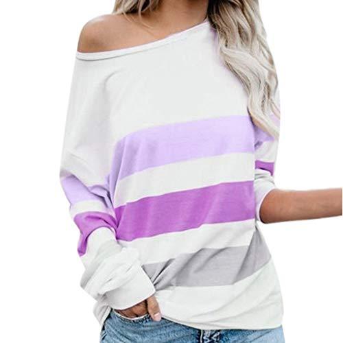 Innerternet Damen Pullover Langarmshirt Streifen Sweater Harry Potter Brille Rundhals Langarm Schulterfrei Bluse Long Sweatshirt Casual Offshoulder T-Shirt