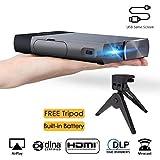 Vidéoprojecteur Full HD, ExquizOn S1 Mini Projecteur Portable 100 Ansi Lumens, Supporte HD 1080P, Pico Projecteur Compatible Clé USB, iPhone, PC, NBA, Football, Roland Garros Home Cinéma/Vidéo TV/Jeux
