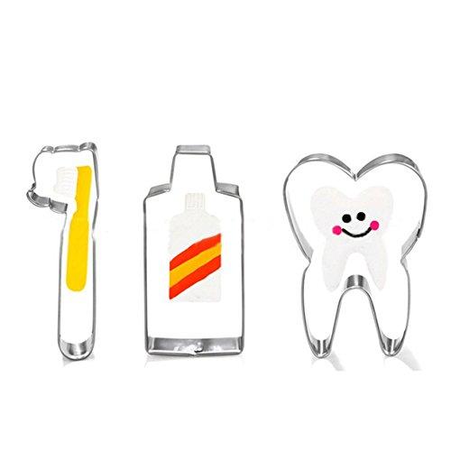 Lalang 3pcs Zahnpasta, Zähne, Zahnbürste - Form Edelstahl Keks Ausstecher Kuchen Plätzchen Ausstechform -