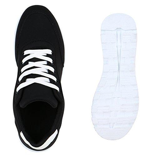 Damen Schuhe Laufschuhe Sneaker Runners Profilsohle Schwarz Glatt Weiss