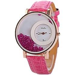 Tonsee Leger bunten Sand Damen Frauen Armbanduhren PU Leder Armband Studentinnen Uhren,hot pink