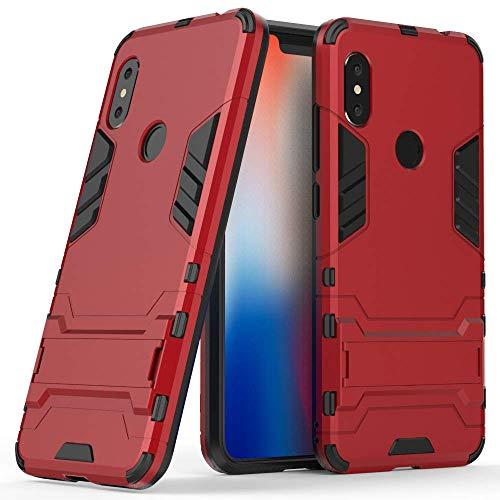 MaiJin Funda para Xiaomi Redmi Note 6 Pro (6,26 Pulgadas) 2 en 1 Híbrida Rugged Armor Case Choque Absorción Protección Dual Layer Bumper Carcasa con Pata de Cabra (Rojo)