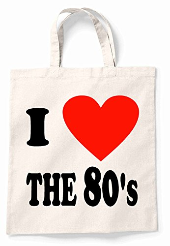 I Love The 80S Canvas Tote Shopping Bag for Life, Cotton