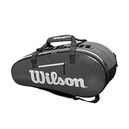 WILSON Tennistasche Tour mit 2 Fächern, Super Tour 2 Compartment Large, schwarz/grau (2-ball-kopf)