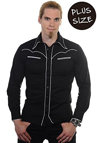 Banned Plain Trim Hemd schwarz/weiß, Schwarz, 4XL -