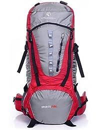 MLveen De gran capacidad profesional bolsa de viaje de ida y escalada al aire libre para acampar hombres y mujeres mochila impermeable 70L Macutos de senderismo ( Color : Rojo , Tamaño : 70L )