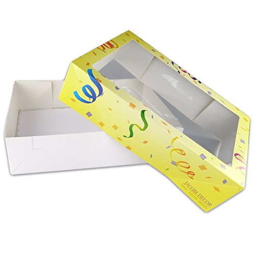 Karton Groß: Luftschlangen | 1 Stück 31,5x46 cm in Gelb | Kuchen-Schachtel mit Klarsichtfenster | Kuchen-Karton eckig mit Deckel | Geschenk-Karton in der Höhe verstellbar (Große Weihnachts-geschenk-boxen Mit Deckel)