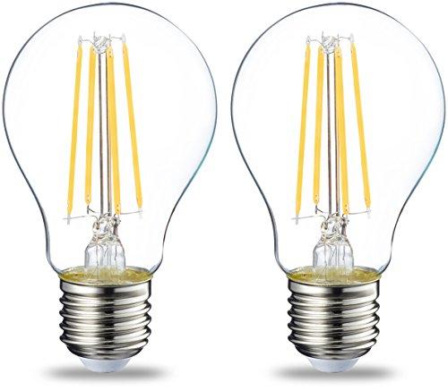 AmazonBasics E27 LED Lampe, 7W (ersetzt 60W), klar, 2er-Pack