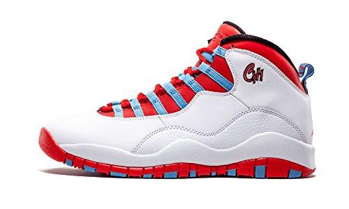 Nike Air Jordan Retro 10, Chaussures de Sport-Basketball Homme, Gris Blanc Cassé - Blanco (White / Lt Crmsn-Unvrsty Bl-Blk)