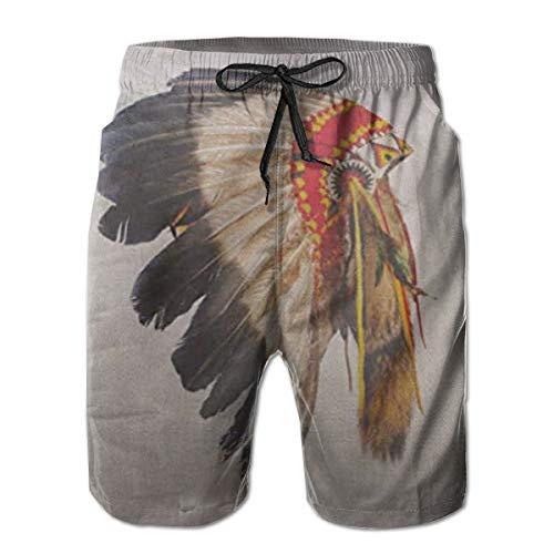 Sumpf Mann Kostüm - Ye Hua Indianer Häuptling Kopfschmuck Maskottchen Kostüm Tribal Feather Herren Badehose Quick Dry Beach Shorts mit Taschen M
