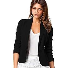 ZAFUL Mujeres Chaquetas de Traje Elegante Solapa Manga Larga Oficina Negocios Cardigan Slim Fit Jacket Outwear Blusa Negra Tallas Grandes S-6XL