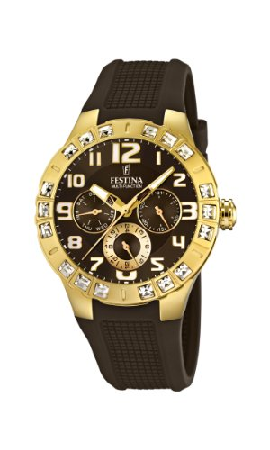 Festina Ladies Quartz Watch with Brown Dial Analogue Display and Brown Rubber Strap F16581/3