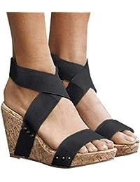 edf9cf1e8 Zapatos Tacon Cuña ♡♡Fannyfuny♡ ❤ Moda Sandalias Zapatillas de Cuña para  Mujeres Zapatillas Casual Primavera Verano Zapatillas…