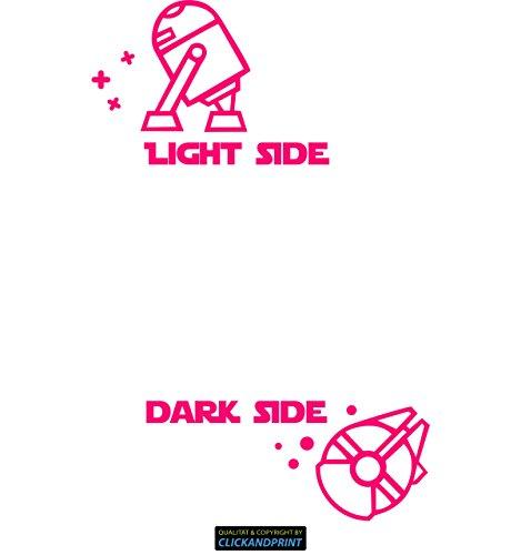 CLICKANDPRINT  Aufkleber » Light side Dark side, 16x12,3cm, Neon Pink • Dekoaufkleber/Autoaufkleber/Sticker/Decal/Vinyl