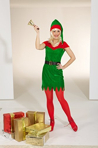 Orlob Damen Kostüm Weihnachtself Kleid Mütze Gürtel Weihnachten Gr.34/36